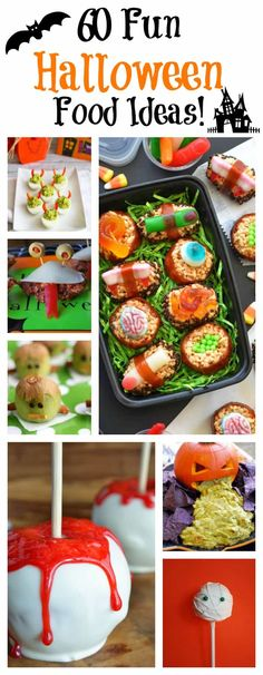 60 Fun Halloween Party Planning and Food Ideas to inspire your next party! #halloween #halloweenrecipes #funhalloweenfood #halloweenfood Halloween Desserts, Halloween Fingerfood, Halloween Party Themes, Halloween Dinner, Homemade Halloween, Halloween Cakes, Easy Halloween, Halloween Treats, Vintage Halloween