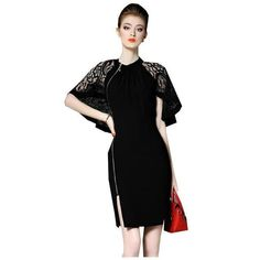 9effe92efa5 Summer Women High End Lace Patchwork Hollow Out Cloak Sleeves Split Bodycon  Zippers OL Dress