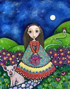 Girls room art pig piglet art print folk art by LindyLonghurst