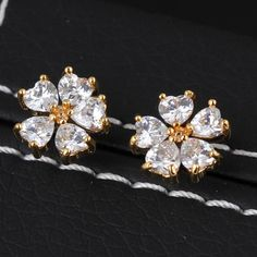 11mm 18K Gold Plated Fashion Flower Design Women Ladies Copper Earrings with Zircon