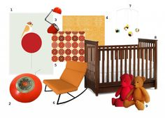 Retro Vintage Orange and Red nursery featuring the Bonavita Peyton crib in chocolate