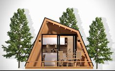 glamping unit mobile home model on Behance Tiny House Cabin, Tiny House Design, Arched Cabin, Triangle House, White Bedroom Decor, Luxury Tents, Micro House, A Frame House, Modern Architecture House