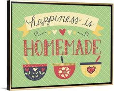 "Happiness is homemade. Set the tone of your kitchen with Amanda McGee's ""Kitchenette"" canvas print, pictured in a Gold Floating Frame. See more framing options and more whimsical kitchen decor at GreatBIGCanvas.com."
