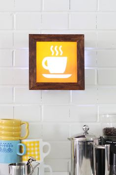 "So cute!   Would be cool when I make my new ""coffee bar""       DIY Light-Up Café Sign - uses led battery lights."