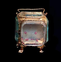Antique Gilt Ormolu Beveled Glass Jewelry / Watch Casket, Vitrine. Exquisite French ROMANTIC Trinket Box, Pink Silk Rosebuds.