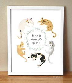 Home Sweet Home Cat Print 8.5X11, Pet Quote Art Print