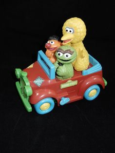 Illco 1988 Sesame Street Wobbly Jalopy Red Wind Up Car w/Big Bird Oscar Ernie  #Illco