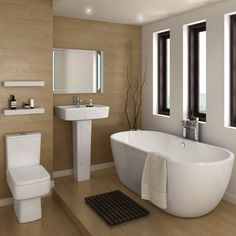 Our Bliss freestanding bath suite features a curved double ended bath, close coupled toilet and pedestal basin - Everything you need for a clean, contemporary finish! https://www.victorianplumbing.co.uk/bliss-modern-double-ended-curved-freestanding-bath-suite-2-basin-size-options?utm_source=Pinterest&utm_medium=Contemporary%20Bathrooms&utm_campaign=Bliss%20Modern%20Curved%20Freestanding%20Bath%20Suite