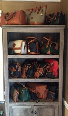 My collection of vintage Dooney & Bourke All Weather Leather handbags.