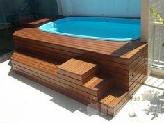 Hot Tub Patio, Hot Tub Garden, Garden Pool, Small Swimming Pools, Small Backyard Pools, Small Pools, Piscina Pallet, Mini Piscina, Kleiner Pool Design
