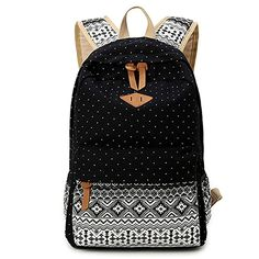 Amazon.com: Hitop Geometry Dot Casual Canvas Backpack Bag, Fashion Cute Lightweight Backpacks for Teen Young Girls (Black): Sports & Outdoors