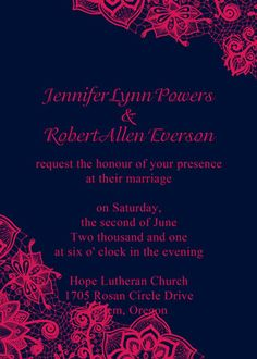 Love The Navy And Fuschia Colors Invitation Stationary Inspiration Pinterest Weddings Wedding Stuff