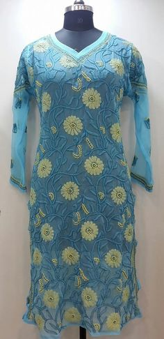 Lucknow Chikan Online Allover Kurti Blue Faux Georgette $42