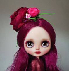 reserved for Julie  Peony  custom Blythe doll  by KarolinFelix