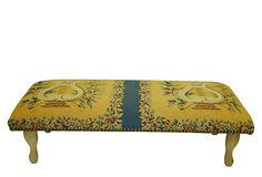 """Alida Ottoman on OneKingsLane.com -- not my cup of tea, color-wise, but I love the lyres.  33""""W x 9""""H.  $279.00"""