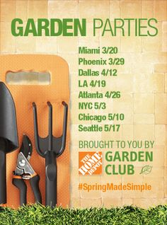 Celebrate spring with us! The Home Depot is holding a series of Garden Parties in cities across America. Enjoy garden-themed activities and garden-to-table fare. Plus learn to make your own herb container garden. Click through for more information and to RSVP.