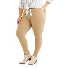 Plus Size Faded Glory Women'S Plus Ankle Length Jegging, Size: 4XL, Beige