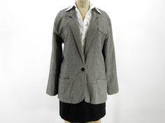 Vintage Herringbone Blazer - Black and White Jacket Coat - Womens Size Large, $32.00