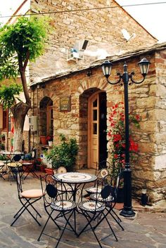 Outdoor Cafe in Ikaria island, Greece Ikaria Greece, Corfu, Places To Travel, Places To Visit, Outdoor Cafe, Belle Villa, Greek Islands, Greece Travel, Belle Photo
