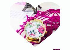 Reloj Geneva color oro con fondo de florecitas :3 $150!  #reloj #girly #coqeta_mexico