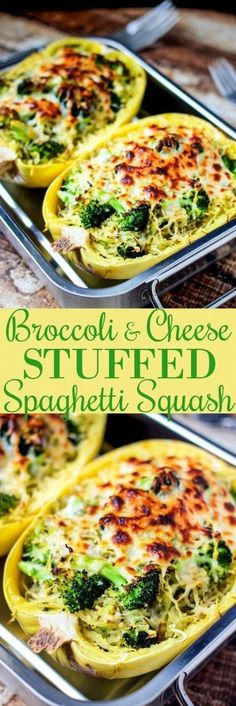 Broccoli & Cheese Stuffed Spaghetti Squash Recipe – Girls Dishes Ingredients 1 spaghetti squash cut in half, seeds removed non stick spray 2 cups chopped broccoli florets 3 cloves garlic Garlic Parmesan Spaghetti Squash, Baked Squash, Spaghetti Squash Recipes, Huhn Spaghetti, Chicken Spaghetti, Vegetarian Spaghetti, Broccoli And Cheese, Garlic Broccoli, Broccoli Dishes