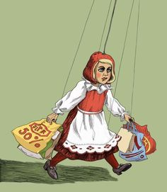 Shopping illustration by Lucie Lomová, via Behance