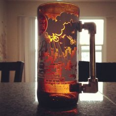 Glass beer mug fathers day gift recycled craft beer