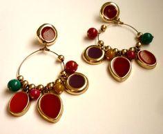Vintage  Hoop Dangles Colorful Beads Big Fun and by GrandmasDowry, $9.99  #gypsy #earrings