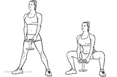 Sumo / plié dumbbell squats is a gym work out exercise that targets glutes & hip flexors and quadriceps and also involves abs and calves and hamstrings. Dumbbell Leg Workout, Kettlebell Abs, Kettlebell Challenge, Kettlebell Benefits, Beginner Leg Workout, Free Weight Workout, Leg Workout At Home, Coaching, Beleza