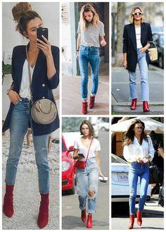 looks jeans e camiseta com bota vermelha Red Heels Outfit, Heels Outfits, Dress And Heels, Cool Outfits, Casual Outfits, Red Ankle Boots, Red Booties, Booties Outfit, Ankle Booties