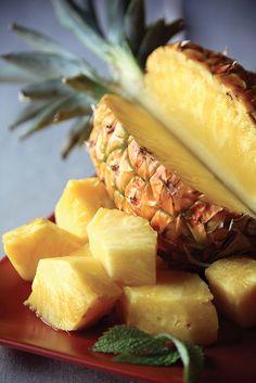 fresh pineapple - great source of vitamin b6, vitamin c, dietary fiber, thiamin, copper & manganese.