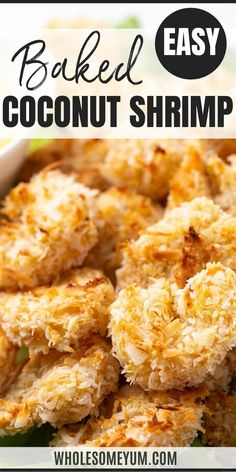 Baked Keto Coconut Shrimp Recipe - See how to make coconut shrimp in the oven! Swap the deep-fried version for this healthy baked coconut shrimp. This keto coconut shrimp recipe has just 6 ingredients and 5 grams net carbs. #wholesomeyum #keto #lowcarb #dinner #seafood