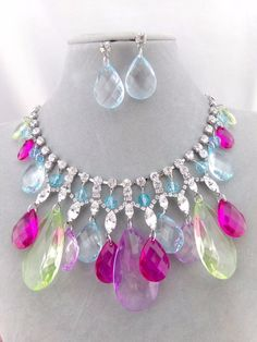 Multi Color Tear Dangle and Crystal Necklace Earrings Silver Fashion Jewelry NEW #CACodelia