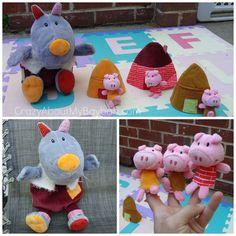 Fiesta Big Bad Wolf Hand Puppet and 3 Little Pigs Finger Puppet Set US SELLER!