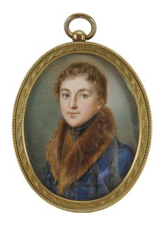 Continental School  (19th century) Miniature Portrait of a Gentleman, wearing a blue coat with large fur collar and black stock, unsigned, watercolor on ivory, 2-5/8 x 2 in.; gilt metal locket frame,