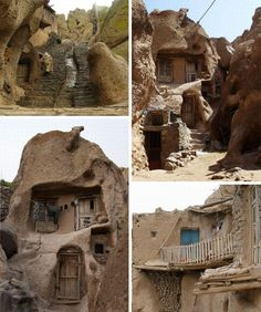 Iranian cave homes:  The architecture itself is eclectic mix, blending traditional masonry and stone-carving techniques with more updated doors and windows and in some cases quite contemporary fixtures and modern furniture – not exactly the cave dwellings of our ancient ancestors.