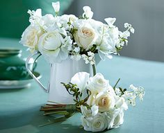 A pure bouquet of white silk flowers #white