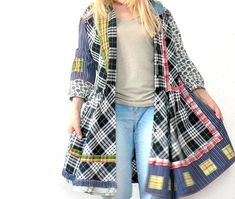 L-XL appliqed, chequered crazy recycled tunic dress hippie boho.