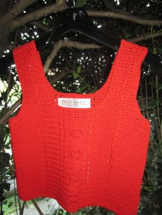 Crochet Cardinal Red Camisole Crop Top Scoop by MarKateLiz on Etsy, $90.00