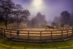Equestrian estate in Green Mountain, North Carolina - round pen Round Pens For Horses, Indoor Arena, Farm Fence, Horse Property, Dream Barn, Green Mountain, Screened In Porch, Horse Barns, Find Homes For Sale