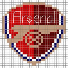 For color choices see the full-size arsenal pattern. Free Aran Knitting Patterns, Knitting Charts, Arsenal Fc, Arsenal Badge, Cross Stitch Art, Cross Stitch Patterns, Liverpool, Crochet Football, Manchester