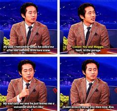 TV series The Walking Dead Steven Yeun lol humor funny pictures funny pics celebs Walking Dead Funny, Glenn The Walking Dead, The Walk Dead, Walking Dead Quotes, Walking Dead Zombies, Burns, Steven Yeun, Interview, Look Man