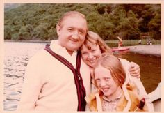Ronald Fraser, Daphne Neville and Sophie Neville in her BOAC Life jacket on location on Derwentwater in the Lake District for the filming of Arthur Ransome's iconic book 'Swallows and Amazons' in 1973