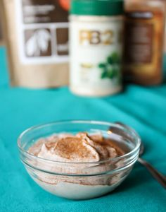 PB2 Yogurt Dessert ----- plain Greek yogurt (about 3/4 cup) 1 tbsp of PB2 (no water added) 1 tsp raw cacao powder 1/2 tsp vanilla extract, a generous shake of cinnamon 1 packet of truvia