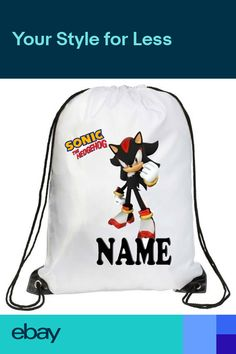 Personalised Kids Sonic Drawstring Bag Swimming PE Gym Picnic Custom 4f1f8774863ce