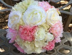 Silk Bridal Bouquet. Real Touch Hydrangea Blush Pink Peony Ranunculus PEACH Roses CREAM Cabbage Roses Silk Wedding from LeAtelierDesigns on Etsy.