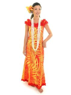 [Exclusive]Nahenahe Ruffle Long Dress [Ginger / Yellow & Red] - Hula Costumes - Hula Supply | AlohaOutlet SelectShop