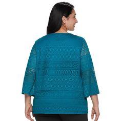 b943fa9922b Plus Size Dana Buchman Lace Bell-Sleeve Top  Buchman