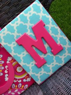 Wood board from Hobby Lobby with scrapbook paper and a painted letter!