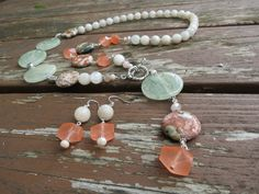 Long Jasper, Prehnite, Quartz, Labradorite and Crystal Necklace with Pendant by RagayJewelry on Etsy